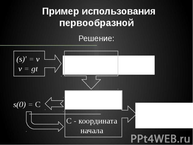 Пример использования первообразной