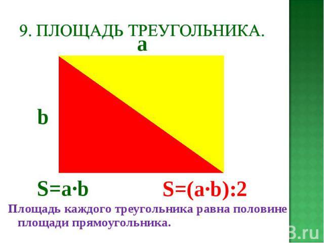 Площадь каждого треугольника равна половине площади прямоугольника. Площадь каждого треугольника равна половине площади прямоугольника.