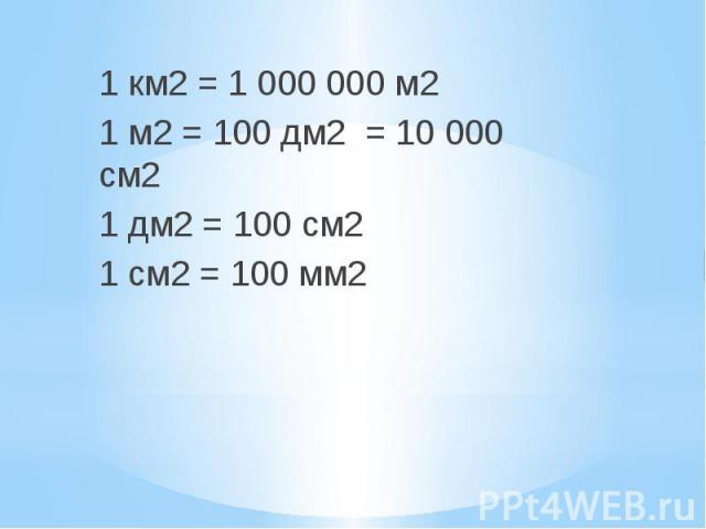 1 км2 = 1000000 м2 1 км2 = 1000000 м2 1 м2 = 100 дм2 = 10000 см2 1 дм2 = 100 см2 1 см2 = 100 мм2