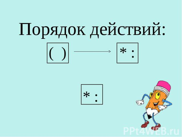 Порядок действий: Порядок действий: ( ) * : * :
