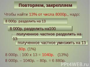 Чтобы найти 13% от числа 8000р., надо: Чтобы найти 13% от числа 8000р., надо: 80