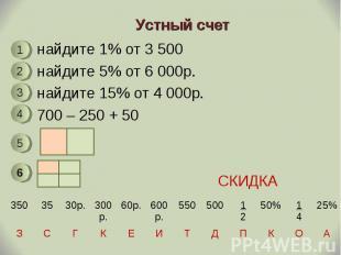 найдите 1% от 3 500 найдите 1% от 3 500 найдите 5% от 6 000р. найдите 15% от 4 0