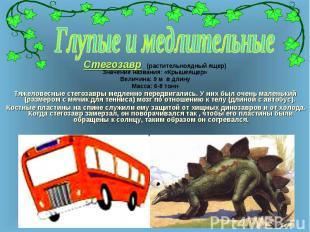 Стегозавр (растительноядный ящер) Стегозавр (растительноядный ящер) Значение наз