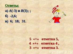 Ответы: Ответы: а) А(-3) и В(3); ; б) -2,6; в) 6; 18; 31.