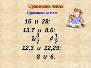 15 и 28; 15 и 28; 13,7 и 8,6; и ; 12,3 и 12,29; -8 и 6.