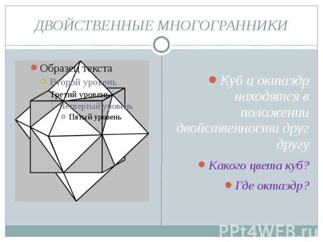 ДВОЙСТВЕННЫЕ МНОГОГРАННИКИ Куб и октаэдр находятся в положении двойственности друг другу Какого цвета куб? Где октаэдр?