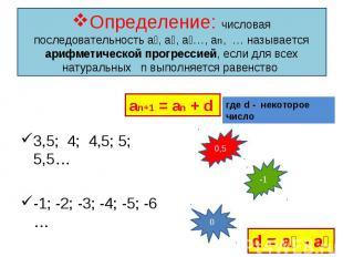3,5; 4; 4,5; 5; 5,5… 3,5; 4; 4,5; 5; 5,5… -1; -2; -3; -4; -5; -6 … 3; 3; 3; 3; 3