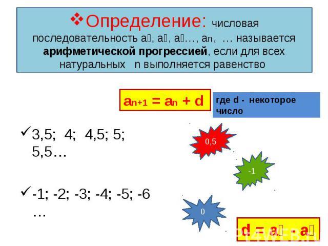 3,5; 4; 4,5; 5; 5,5… 3,5; 4; 4,5; 5; 5,5… -1; -2; -3; -4; -5; -6 … 3; 3; 3; 3; 3; 3; 3…