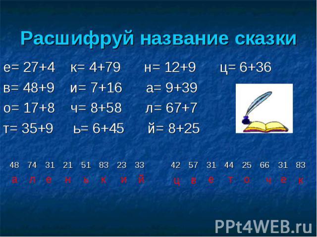 е= 27+4 к= 4+79 н= 12+9 ц= 6+36 е= 27+4 к= 4+79 н= 12+9 ц= 6+36 в= 48+9 и= 7+16 а= 9+39 о= 17+8 ч= 8+58 л= 67+7 т= 35+9 ь= 6+45 й= 8+25