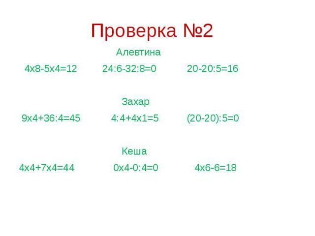 Проверка №2 Алевтина 4х8-5х4=12 24:6-32:8=0 20-20:5=16 Захар 9х4+36:4=45 4:4+4х1=5 (20-20):5=0 Кеша 4х4+7х4=44 0х4-0:4=0 4х6-6=18
