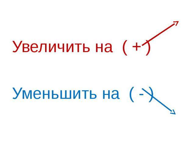 Увеличить на ( + ) Уменьшить на ( - )