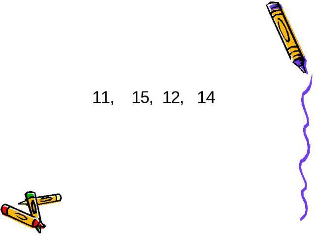 11, 15, 12, 14