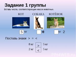 Задание 1 группы Вставь числа, соответствующие массе животных.