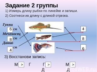 Задание 2 группы 1) Измерь длину рыбки по линейке и запиши. 2) Соотнеси их длину