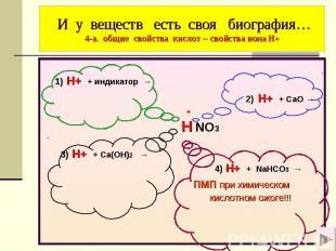 И у веществ есть своя биография… 4-а. общие свойства кислот – свойства иона Н+ 1