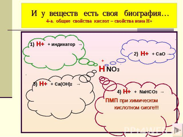 И у веществ есть своя биография… 4-а. общие свойства кислот – свойства иона Н+ 1) H+ + индикатор → 2) H+ + СaO → + H NO3 3) H+ + Ca(OH)2 → 4) H+ + NaHCO3 → пмп при химическом кислотном ожоге!!!