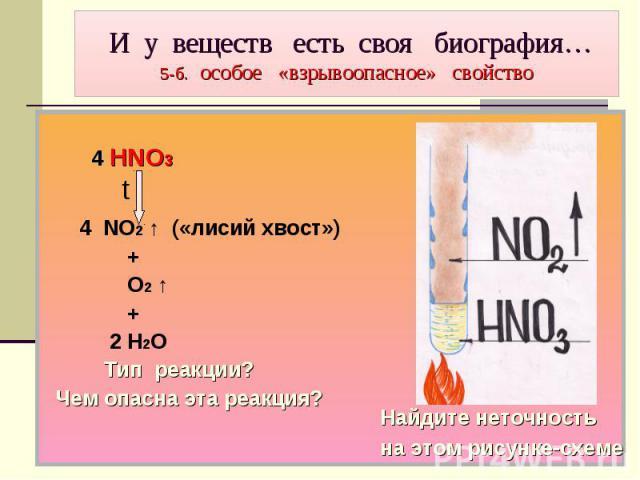 И у веществ есть своя биография… 5-б. особое «взрывоопасное» свойство 4 HNO3 t 4 NO2 ↑ («лисий хвост») + О2 ↑ + 2 Н2О Тип реакции? Чем опасна эта реакция?