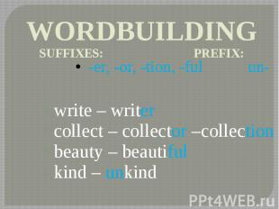 WORDBUILDING SUFFIXES: PREFIX: -er, -or, -tion, -ful un- write – writer collect