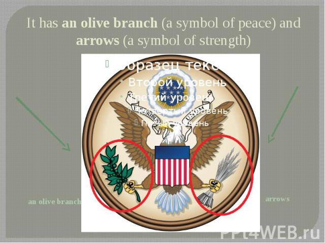 It has an olive branch (a symbol of peace) and arrows (a symbol of strength)