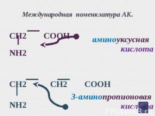 Международная номенклатура АК. CH2 COOH NH2 CH2 CH2 COOH NH2