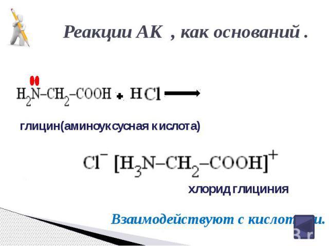 Реакции АК , как оснований . глицин(аминоуксусная кислота) хлорид глициния
