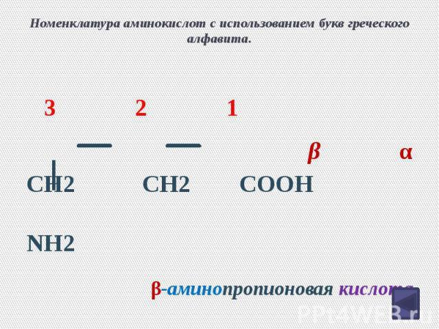 Номенклатура аминокислот с использованием букв греческого алфавита. CH2 CH2 COOH NH2