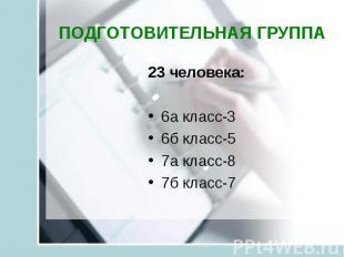 23 человека: 23 человека: 6а класс-3 6б класс-5 7а класс-8 7б класс-7