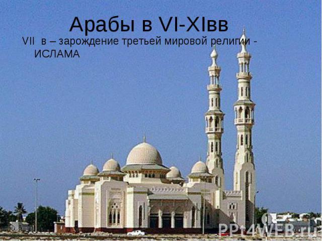 VII в – зарождение третьей мировой религии - ИСЛАМА VII в – зарождение третьей мировой религии - ИСЛАМА