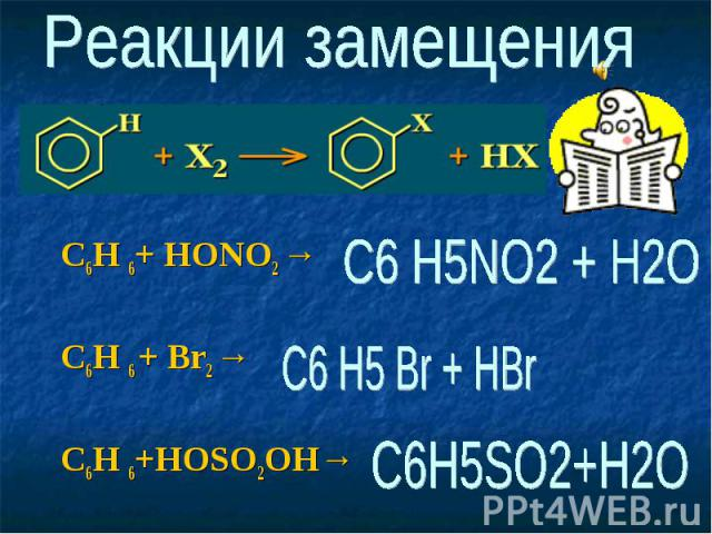 C6H 6+ HONO2 → C6H 6 + Br2 → C6H 6+HOSO2OH→