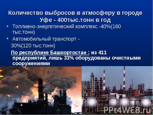 Топливно-энергетический комплекс -40%(160 тыс.тонн) Топливно-энергетический комплекс -40%(160 тыс.тонн) Автомобильный транспорт - 30%(120 тыс.тонн) По республике Башкортостан : из 411 предприятий, лишь 33% оборудованы очистными сооружениями