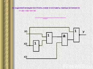 ПО ЗАДАННОЙ ФУНКЦИИ ПОСТРОИТЬ СХЕМУ И СОСТАВИТЬ ТАБЛИЦУ ИСТИННОСТИ У = (Х1 + Х2)