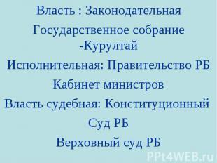 Власть : Законодательная Государственное собрание -Курултай Исполнительная: Прав