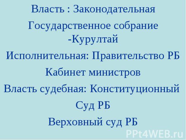 Власть : Законодательная Государственное собрание -Курултай Исполнительная: Правительство РБ Кабинет министров Власть судебная: Конституционный Суд РБ Верховный суд РБ