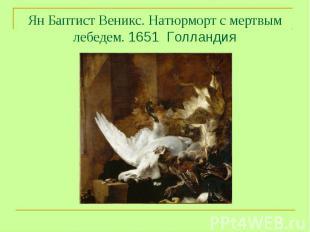 Ян Баптист Веникс. Натюрморт с мертвым лебедем. 1651 Голландия