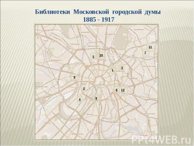Библиотеки Московской городской думы 1885 - 1917