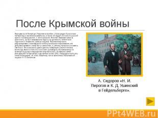 После Крымской войны Вернувшись в Петербург, Пирогов на приёме у Александра II р