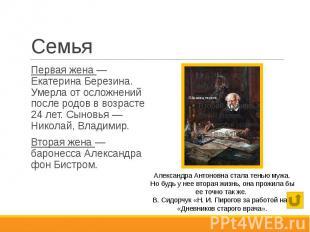 Семья Первая жена — Екатерина Березина. Умерла от осложнений после родов в возра