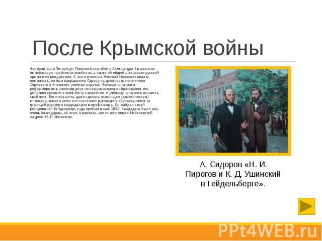 После Крымской войны Вернувшись в Петербург, Пирогов на приёме у Александра II рассказал императору о проблемах в войсках, а также об общей отсталости русской армии и её вооружения. С этого момента Николай Иванович впал в немилость, он был направлен…