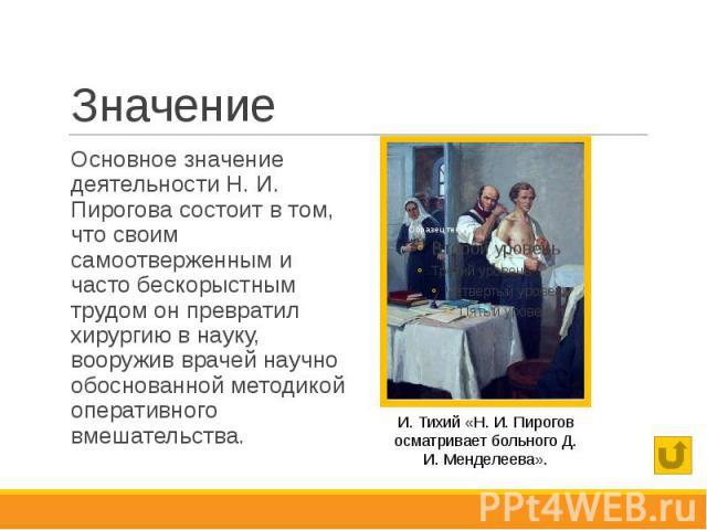 Значение Основное значение деятельности Н. И. Пирогова состоит в том, что своим самоотверженным и часто бескорыстным трудом он превратил хирургию в науку, вооружив врачей научно обоснованной методикой оперативного вмешательства.