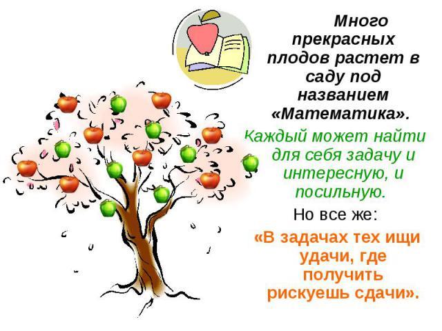 Много прекрасных плодов растет в саду под названием «Математика». Много прекрасных плодов растет в саду под названием «Математика». Каждый может найти для себя задачу и интересную, и посильную. Но все же: «В задачах тех ищи удачи, где получить риску…