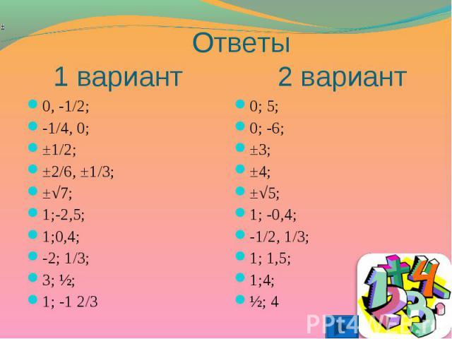 0, -1/2; 0, -1/2; -1/4, 0; ±1/2; ±2/6, ±1/3; ±√7; 1;-2,5; 1;0,4; -2; 1/3; 3; ½; 1; -1 2/3
