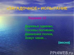«ЗАГАДОЧНОЕ» ИСПЫТАНИЕ Задание 12