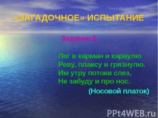«ЗАГАДОЧНОЕ» ИСПЫТАНИЕ Задание 5