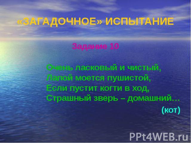 «ЗАГАДОЧНОЕ» ИСПЫТАНИЕ Задание 10