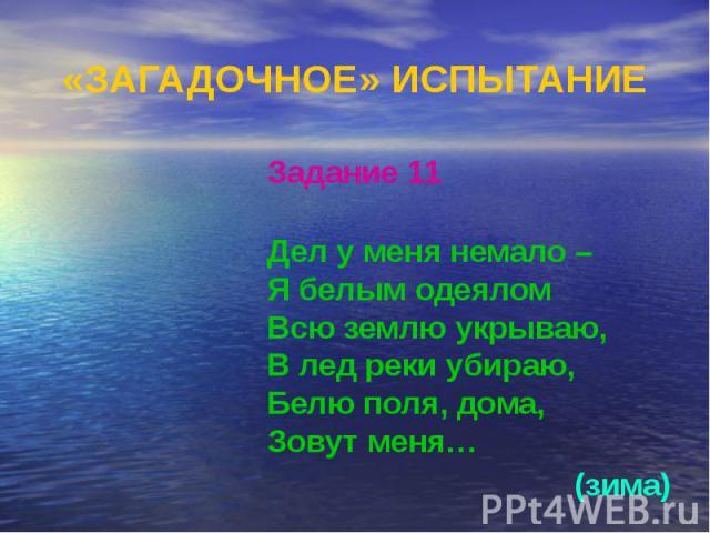 «ЗАГАДОЧНОЕ» ИСПЫТАНИЕ Задание 11