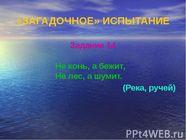 «ЗАГАДОЧНОЕ» ИСПЫТАНИЕ Задание 14