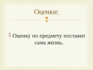 Оценку по предмету поставит сама жизнь. Оценку по предмету поставит сама жизнь.