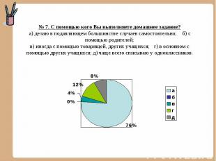№ 7. С помощью кого Вы выполняете домашнее задание? а) делаю в подавляющем больш