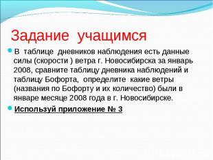 В таблице дневников наблюдения есть данные силы (скорости ) ветра г. Новосибирск