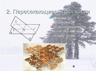 Плоскости называются пересекающимися, если они имеют общие точки Плоскости назыв